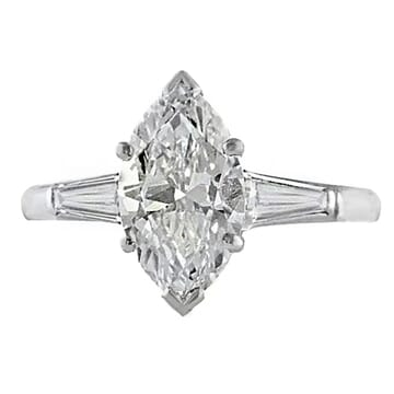1.75 ct Marquise Diamond Platinum Engagement Ring front view white gold