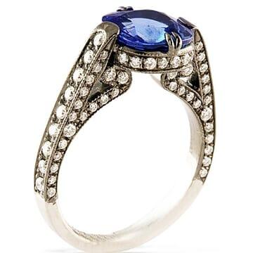 Sapphire and Diamond Black Rhodium Platinum Engagement Ring