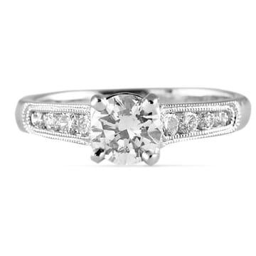 .70 ct Round Diamond 18K White Gold Engagement Ring