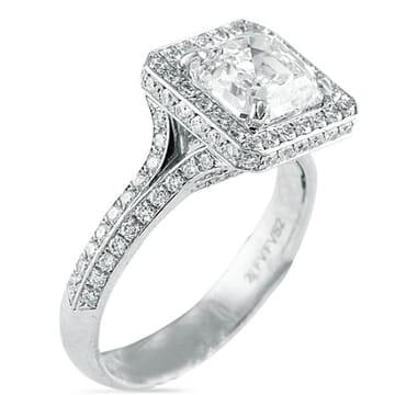 Asscher Cut Diamond Platinum Engagement Ring