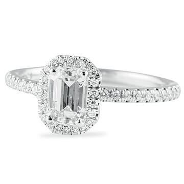 .84 ct Emerald Cut Diamond 14K White Gold Engagement Ring
