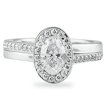 .84 ct Oval Cut Diamond 14K White Gold Engagement Ring