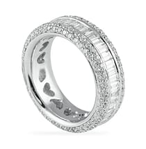 Baguette And Round Diamond Multi-Row Eternity Band