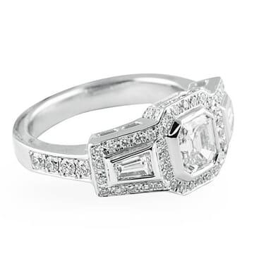 .71 ct Asscher Diamond 14K White Gold Engagement Ring