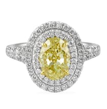 1.74 ct Fancy Yellow Oval Diamond Platinum Engagement Ring