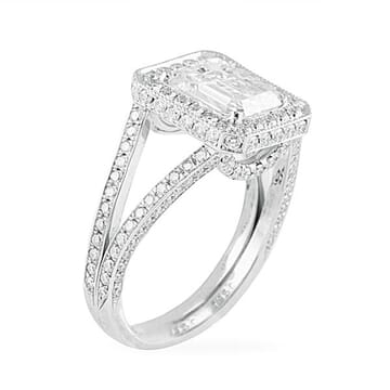 emerald cut double edge halo with split band