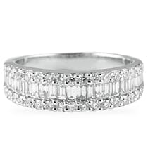 baguette and round diamond halfway wedding band ring