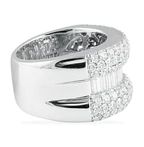3.20 CT ROUND AND BAGUETTE DIAMOND WIDE WEDDING BAND