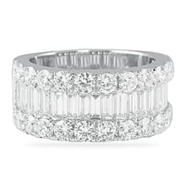 baguette and round diamond wide wedding band ring