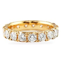 large pave eternity band in rose gold with fishtail etching