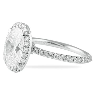 1.74 Carat Oval Diamond Platinum Engagement Ring