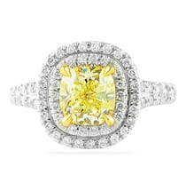 yellow diamond cushion cut double halo ring