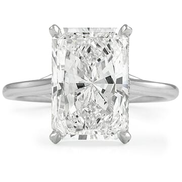 5 carat Radiant Cut Diamond Solitaire Engagement Ring front view white gold