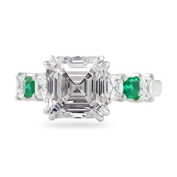 3.50 ct Asscher Diamond 7-Stone Engagement Ring