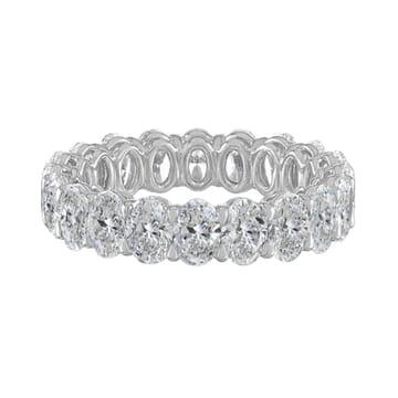 4.10 Carat Oval Diamond White Gold Eternity Band Ring