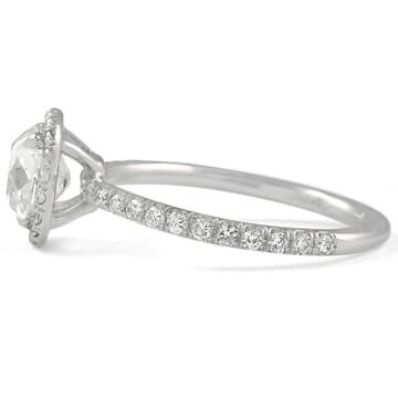 1.5 ct Antique Cushion Diamond Classic Halo Ring