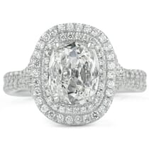 1.5 ct Antique Cushion Diamond Double Halo Ring