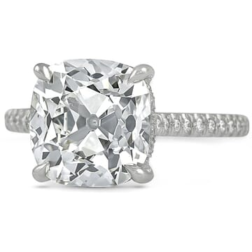 4.39 ct Antique Cushion Diamond Engagement Ring