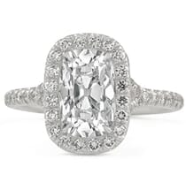super elongated antique cushion diamond halo ring