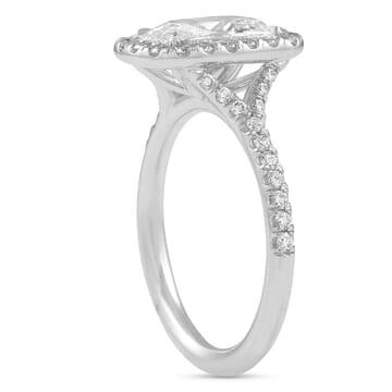 super elongated antique cushion diamond halo ring