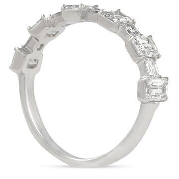 ASSCHER AND EMERALD CUT DIAMOND HALFWAY WEDDING BAND
