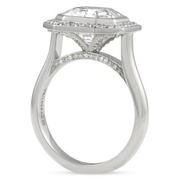 Asscher Cut Moissanite Bezel Set Halo Engagement Ring