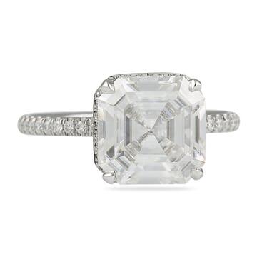 asscher cut moissanite engagement ring