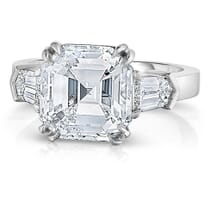 5 CARAT ASSCHER CUT WITH TAPERED BULLET SIDE DIAMONDS