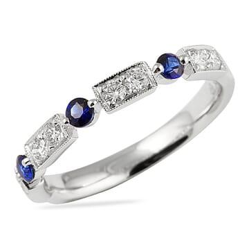 sapphire and diamond wedding band vintage