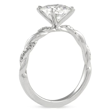 Round Moissanite Braided Band Engagement Ring front view