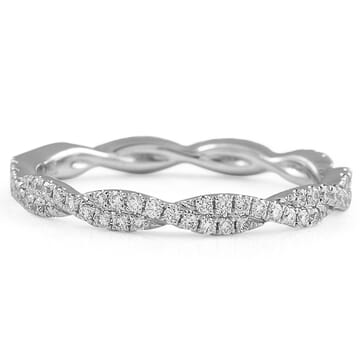 Delicate Braided Pave Diamond Wedding Band flat lay