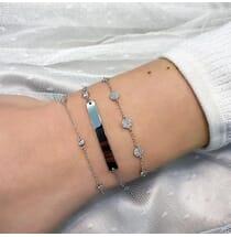 Pave Disc Bracelet White Gold