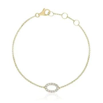 Pave Oval Bracelet yellow gold jewelry