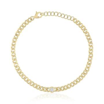 Bezel Diamond Chain Link Bracelet yellow gold