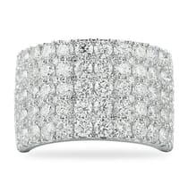five row pave diamond wedding band ring