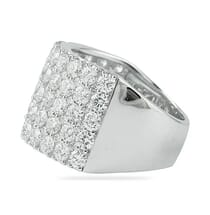 five row pave diamond wedding band ring