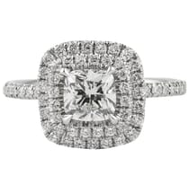 CUSHION CUT DIAMOND DOUBLE HALO ENGAGEMENT RING UNDER 1 CARAT