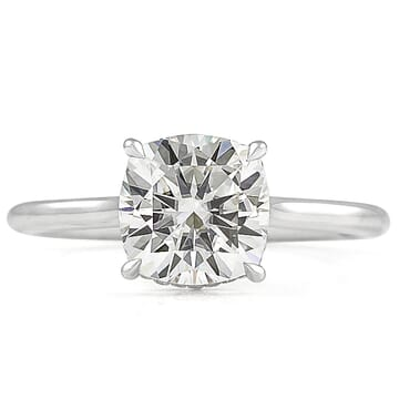 Cushion Moissanite Double Signature Wrap Engagement Ring  front view