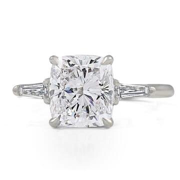 2.60 Carat Cushion Cut Diamond Three-Stone Engagement Ring