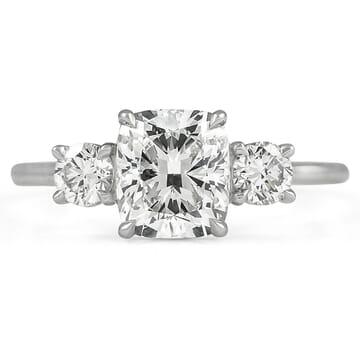 1.51 ct Cushion Cut Diamond Three-Stone Engagement Ring