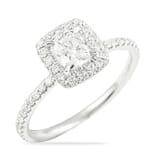 0.60 Carat Cushion Cut Diamond Double-Edge Halo Engagement Ring