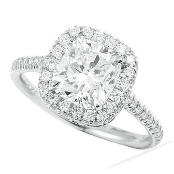 1.81 Carat Cushion Cut Diamond Halo Engagement Ring