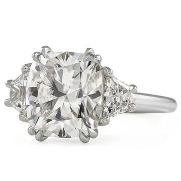 Cushion Cut Moissanite Three-Stone Engagement Ring