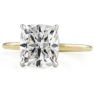 Cushion Cut Moissanite Two-Tone Solitaire Engagement Ring yellow gold