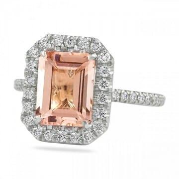 Step Cut Morganite And Diamond Halo Ring