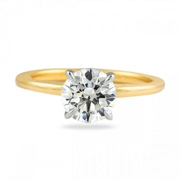 1.29 Carat Round Diamond Two-Tone Solitaire Engagement Ring