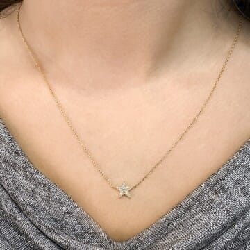 Pave Star Pendant yellow gold