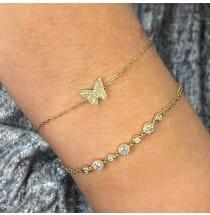Pave Butterfly Bracelet yellow gold