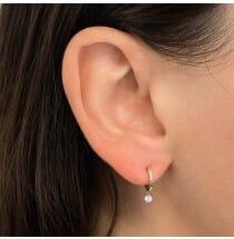 Floating Diamond Huggies yellow gold earrings