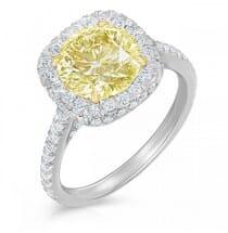 round yellow diamond in cushion halo